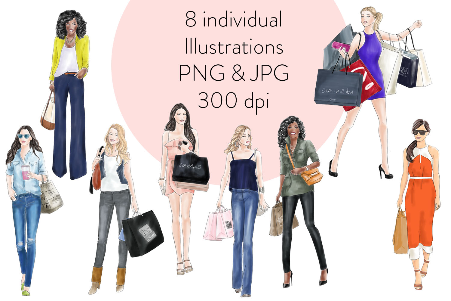 Watercolour fashion illustration clipart Shopping Girls - Assorted example image 2