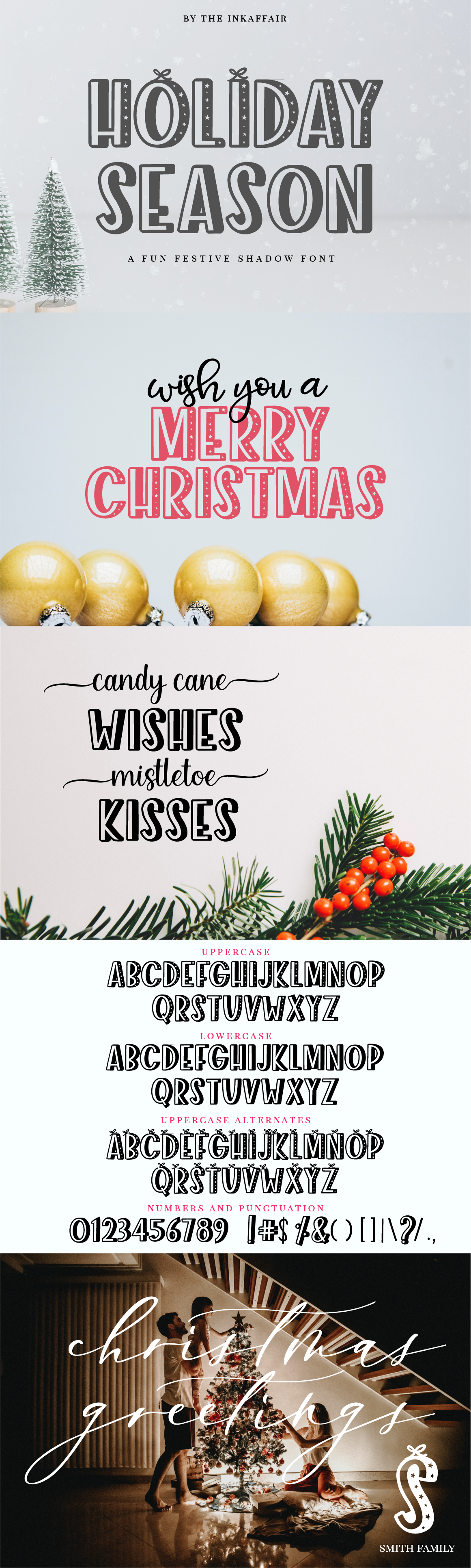 Holiday Season - a festive shadow christmas font example image 7