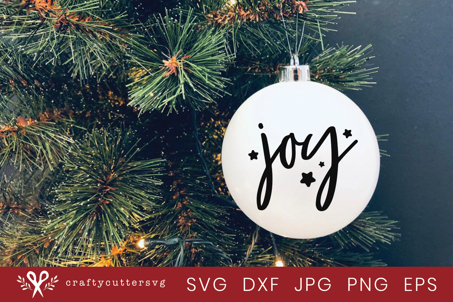 Christmas Ornament Joy Cut File Bell Clipart example image 2
