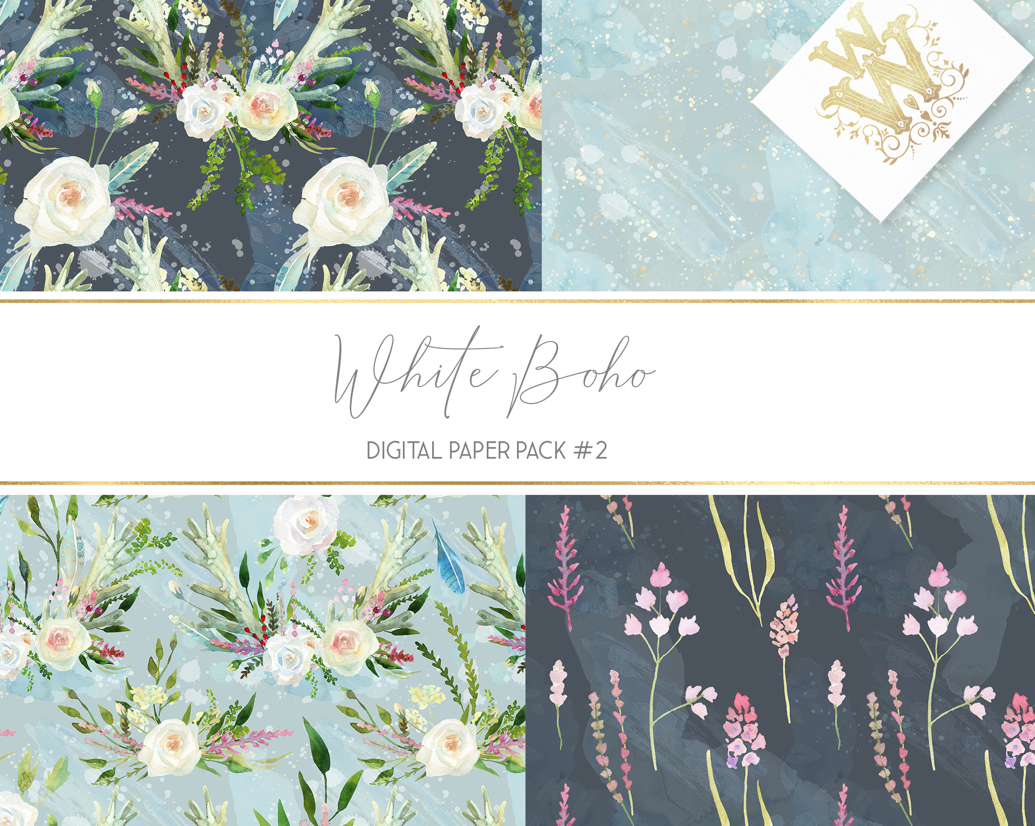 Boho chic digital paper pack, watercolor floral seamless example image 5