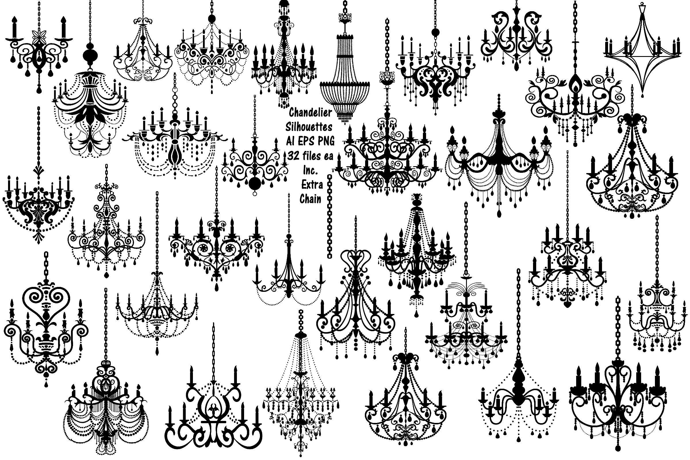 Chandelier Silhouettes Vectors AI EPS PNG example image 1