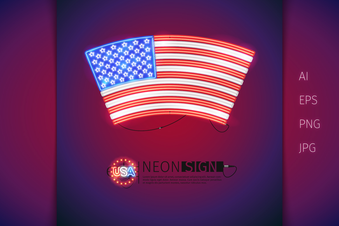 Glowing Neon USA Flags Set example image 4