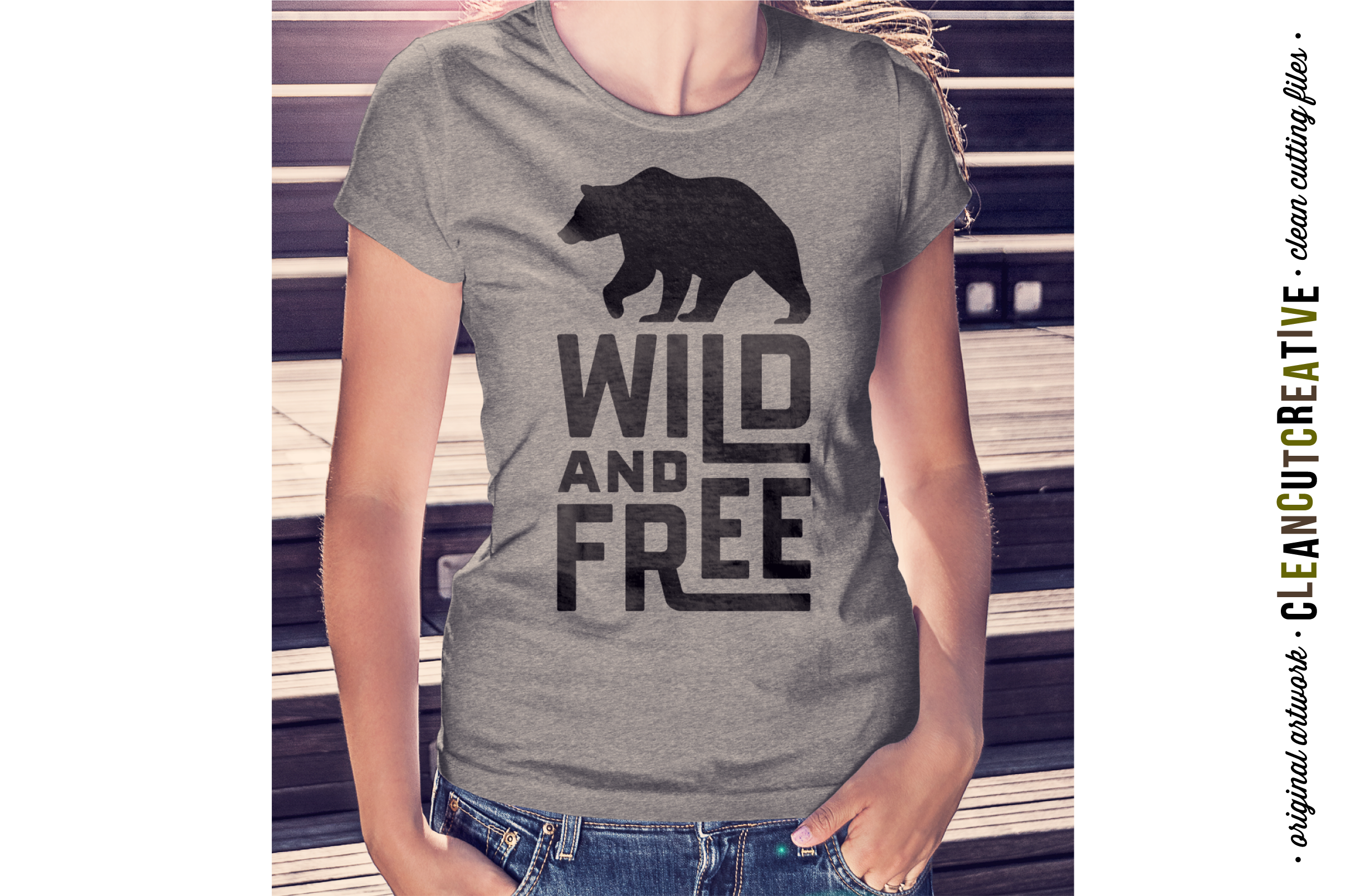 WILD AND FREE Quote with bear - SVG DXF EPS PNG- Cricut and Silhouette - clean cutting files example image 2