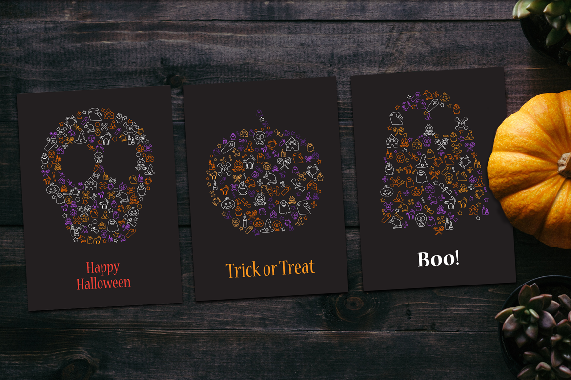 Happy Halloween Silhouette Banners Set example image 3