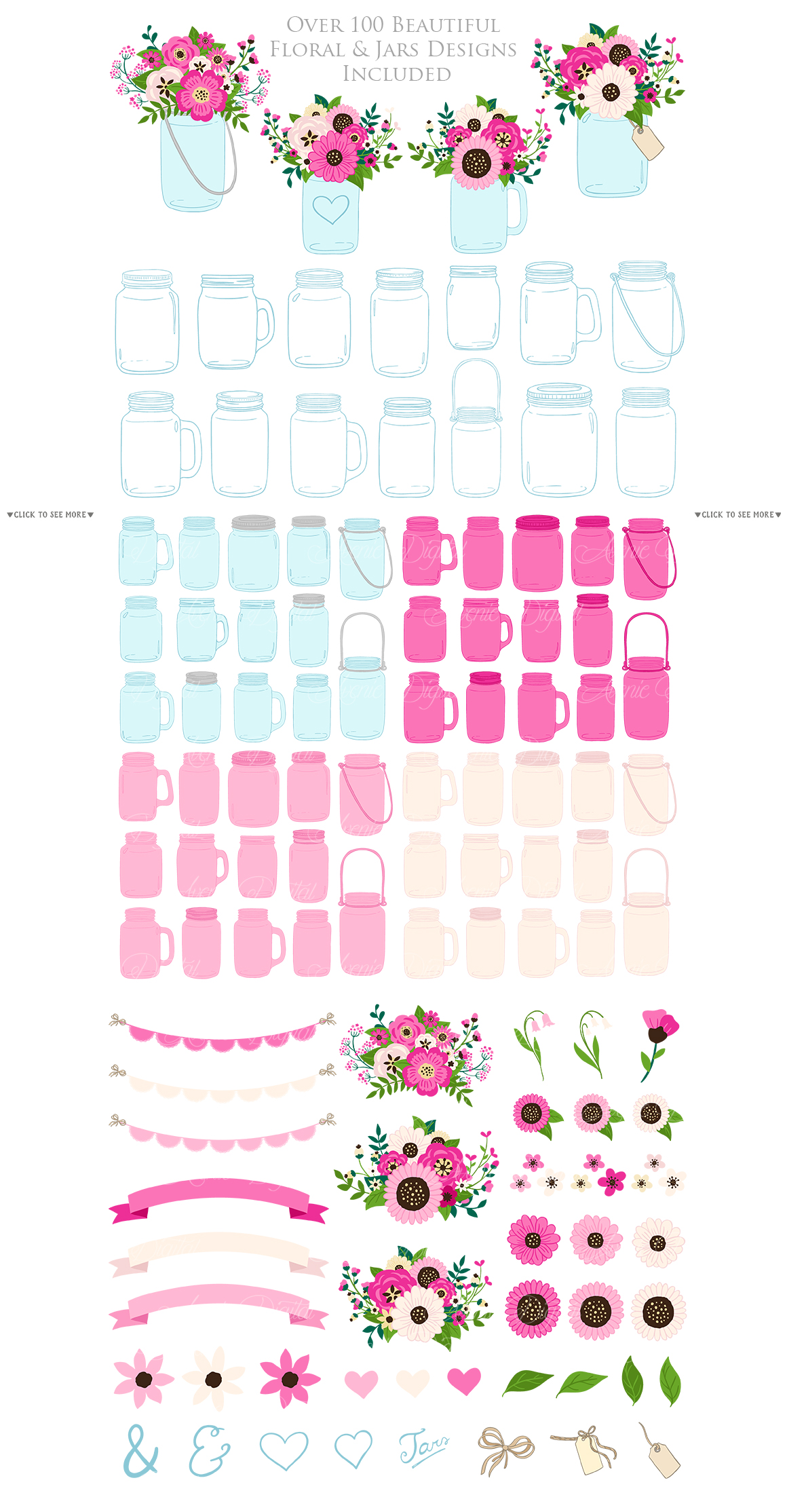Hot Pink Mason Jar Floral Wedding Clipart example image 5