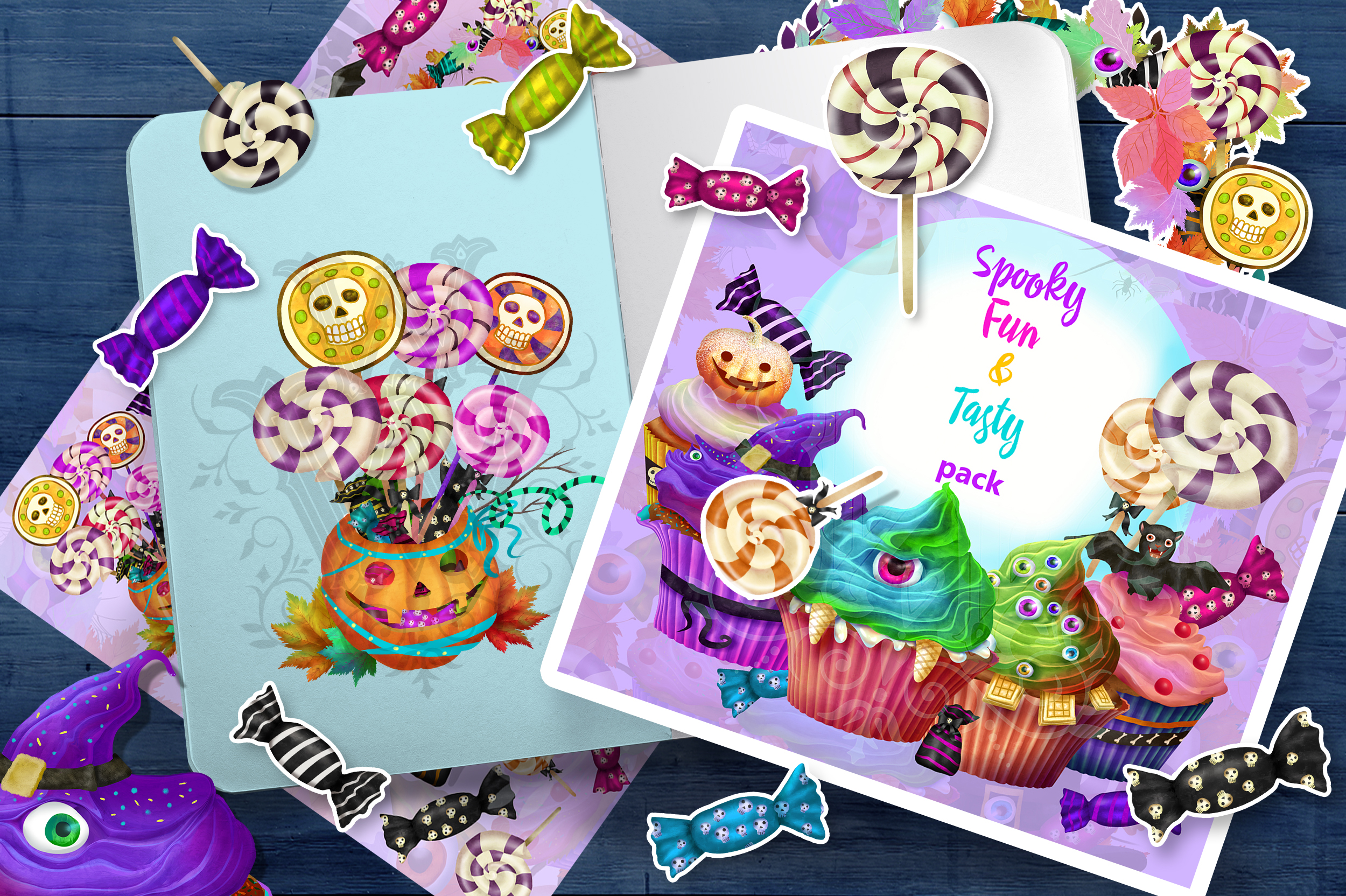 Cute Halloween monster sweets clipart set with wreath example image 1