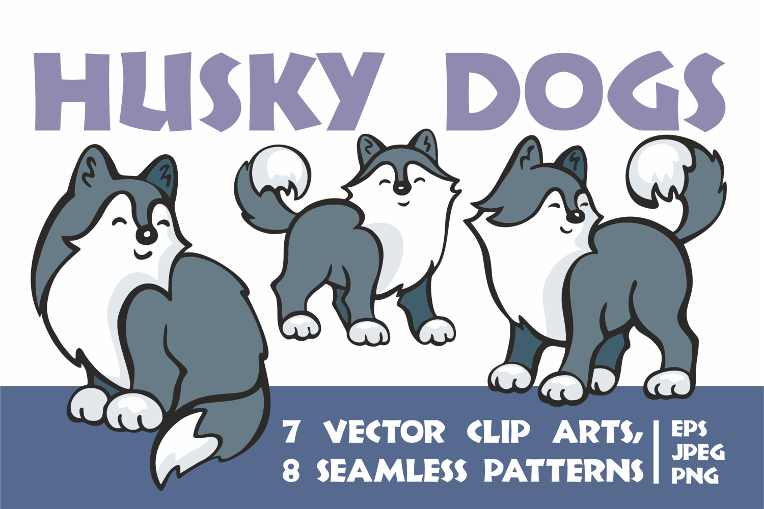 Cute husky dogs. Vector clip arts and seamless patterns. example image 1