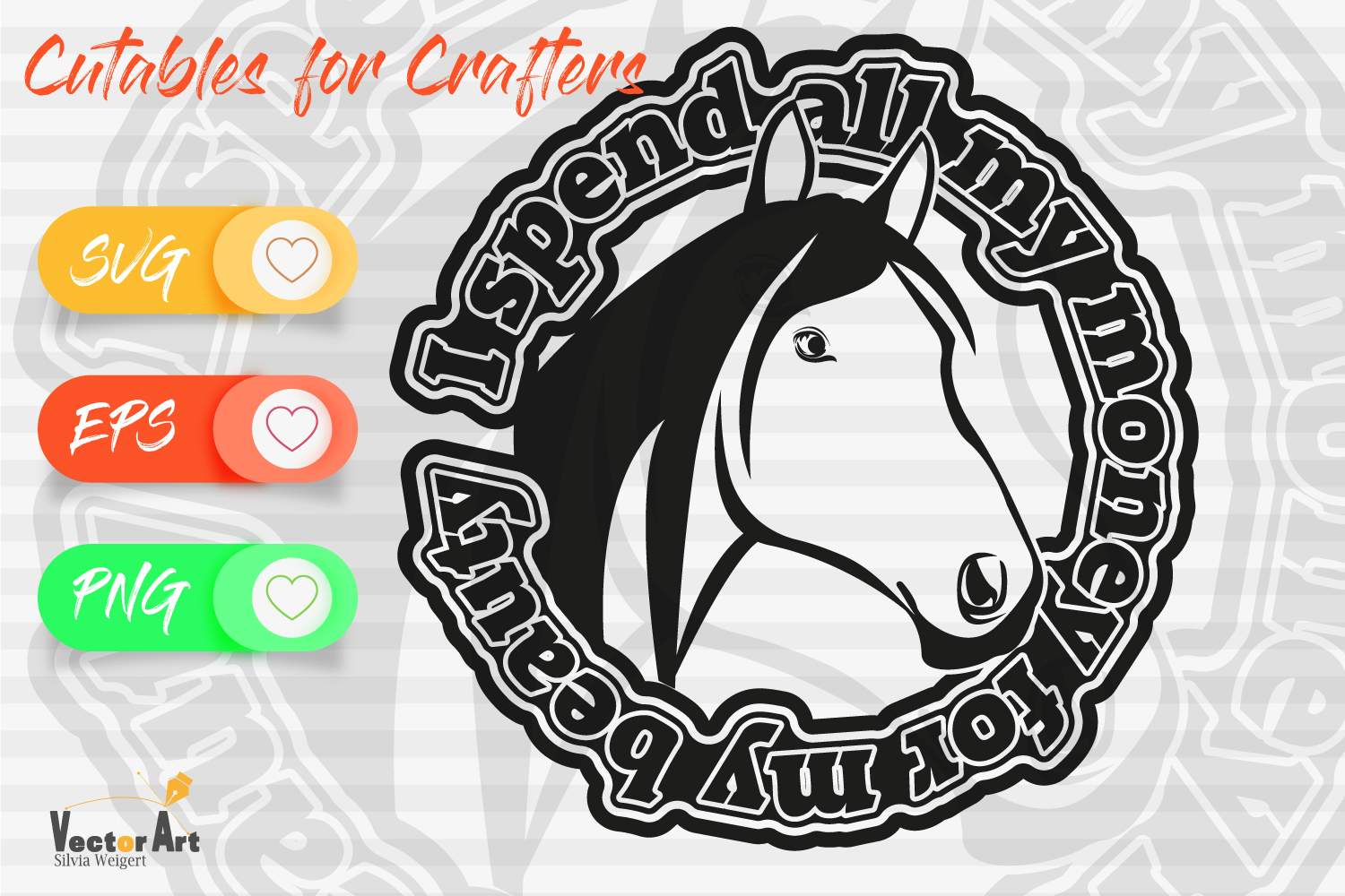 Horsehead with Saying - Cut File for Crafters example image 1