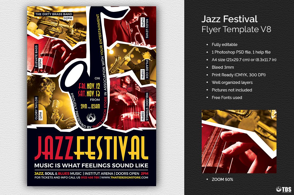 jazz festival flyer template v8. Black Bedroom Furniture Sets. Home Design Ideas