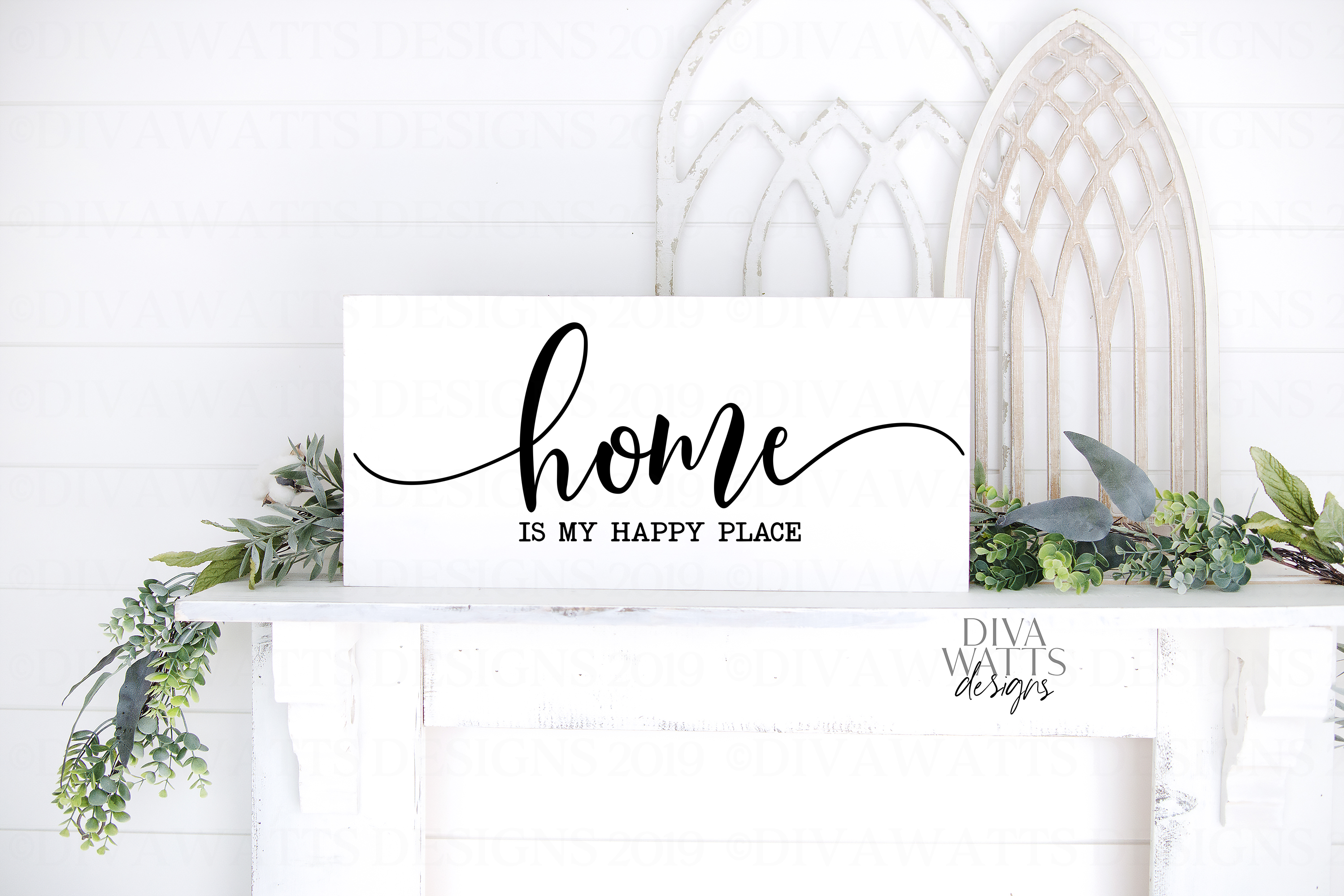 Home Is My Happy Place - Farmhouse Cutting File SVG example image 1