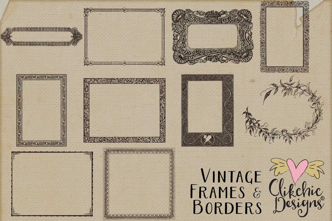 Vintage Frames and Borders plus Photoshop Brushes example image 2
