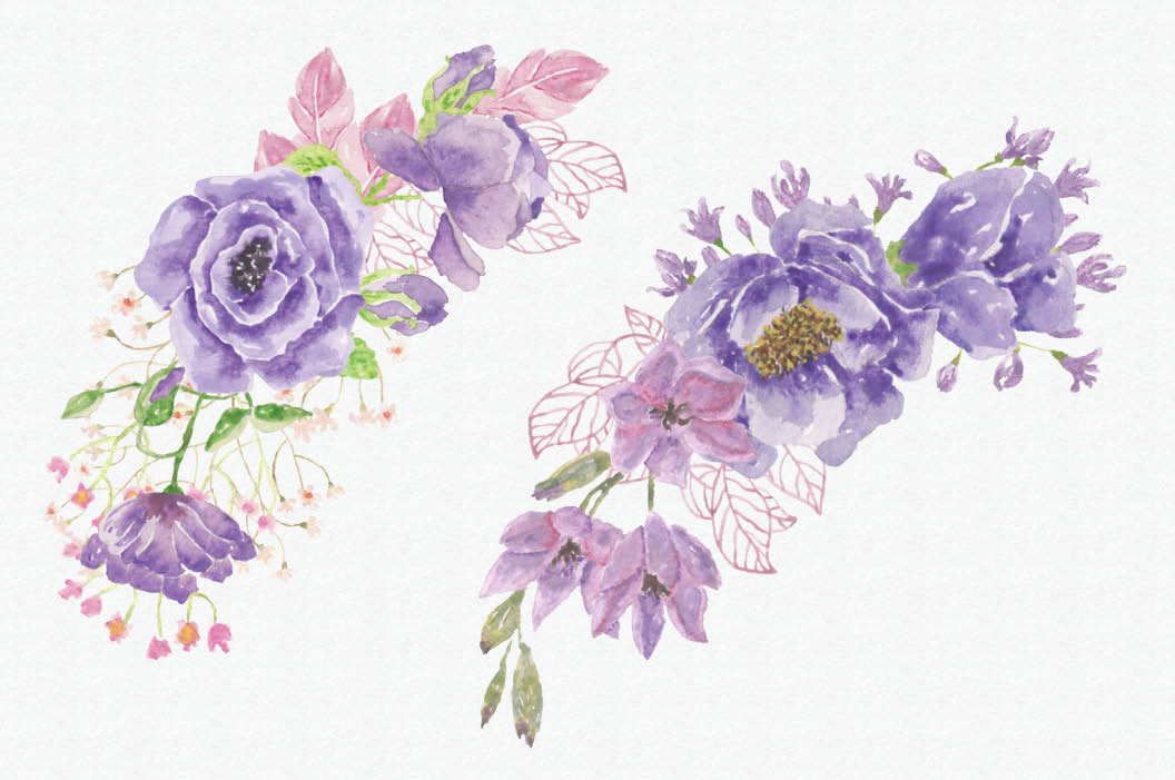 Watercolor wreath of purple and pink flowers example image 4