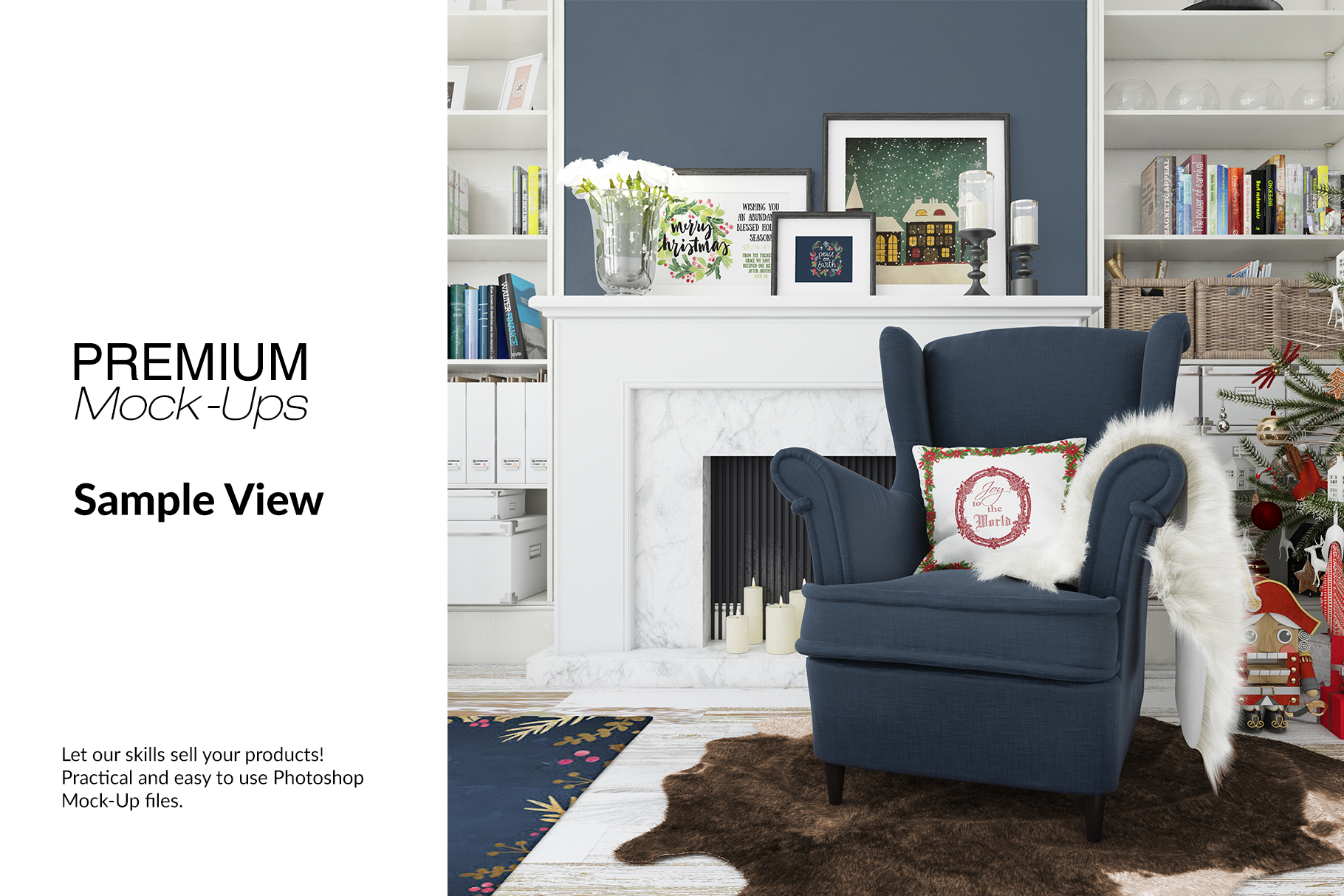 Christmas Living Room - Pillow & Frames Set example image 7