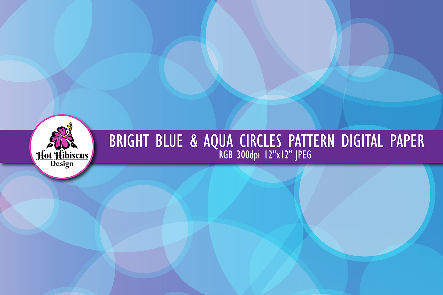 Blue Circles Abstract Graphic Background Digital Paper example image 1