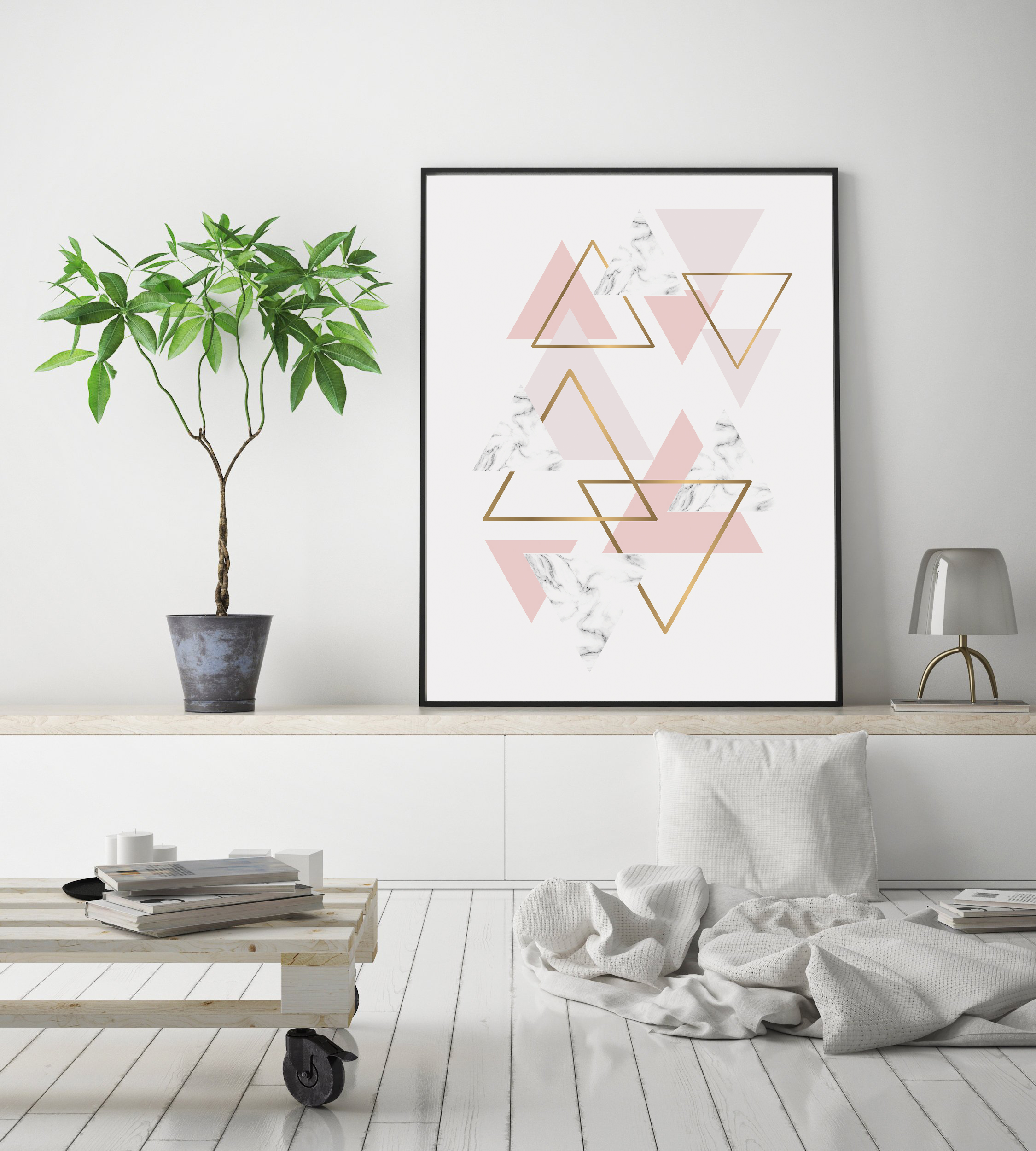 Pink and Gold Wall Print, Geometric Triangle Digital example image 2