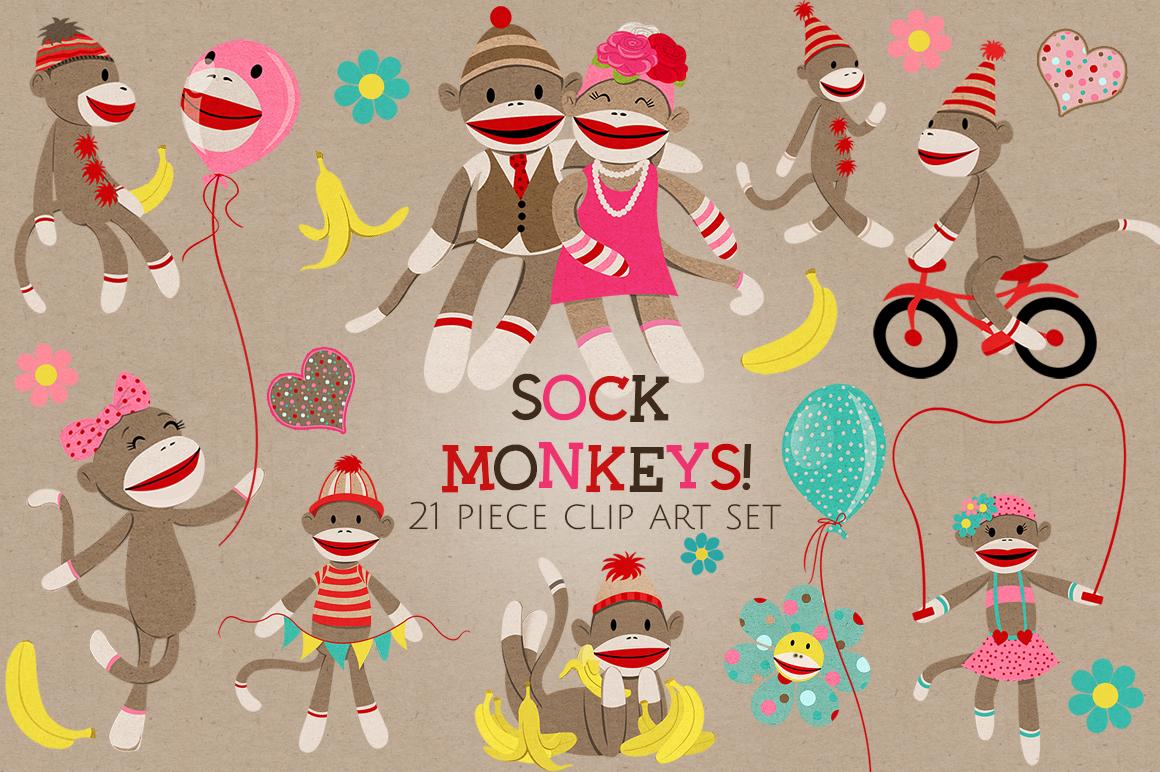 Sock Monkeys Clip Art Set example image 1