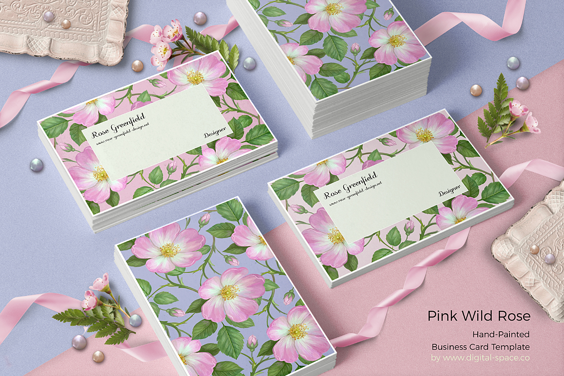 Pink Wild Rose PSD Business Card Template example image 6