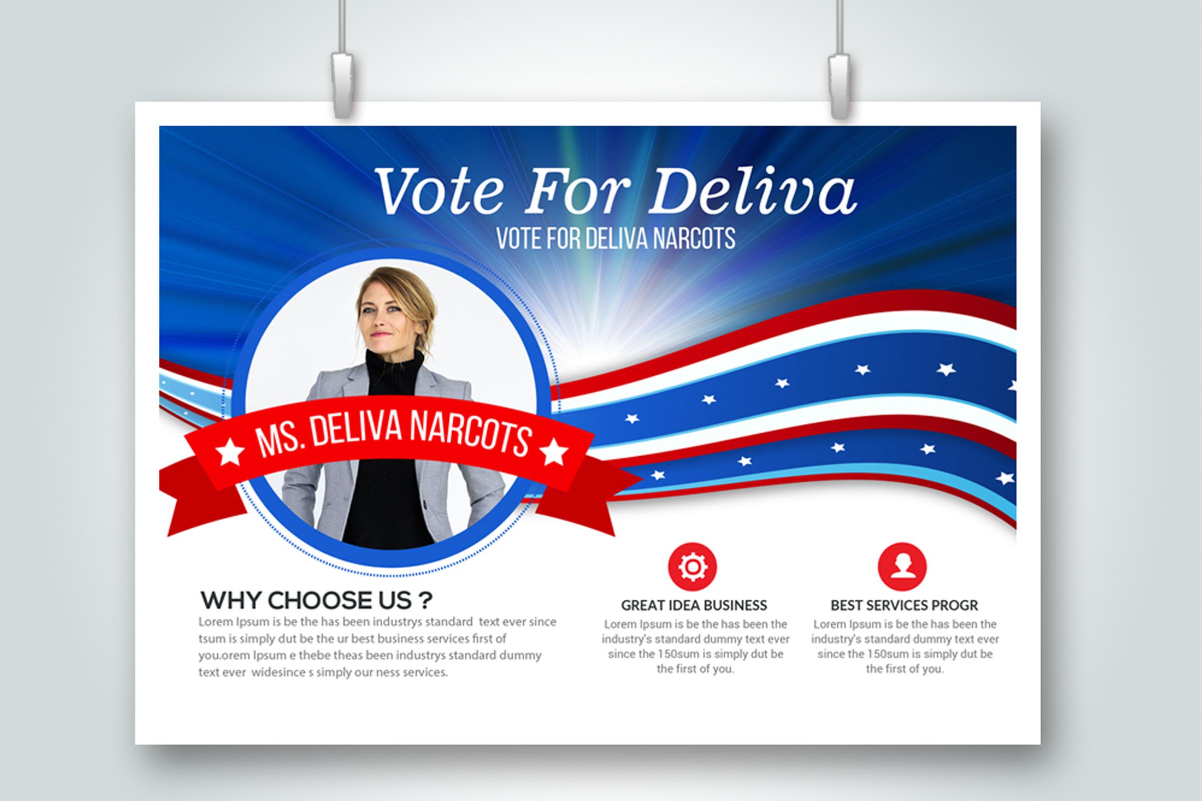 4 Horizontal Election Voting Flyers Bundle example image 2