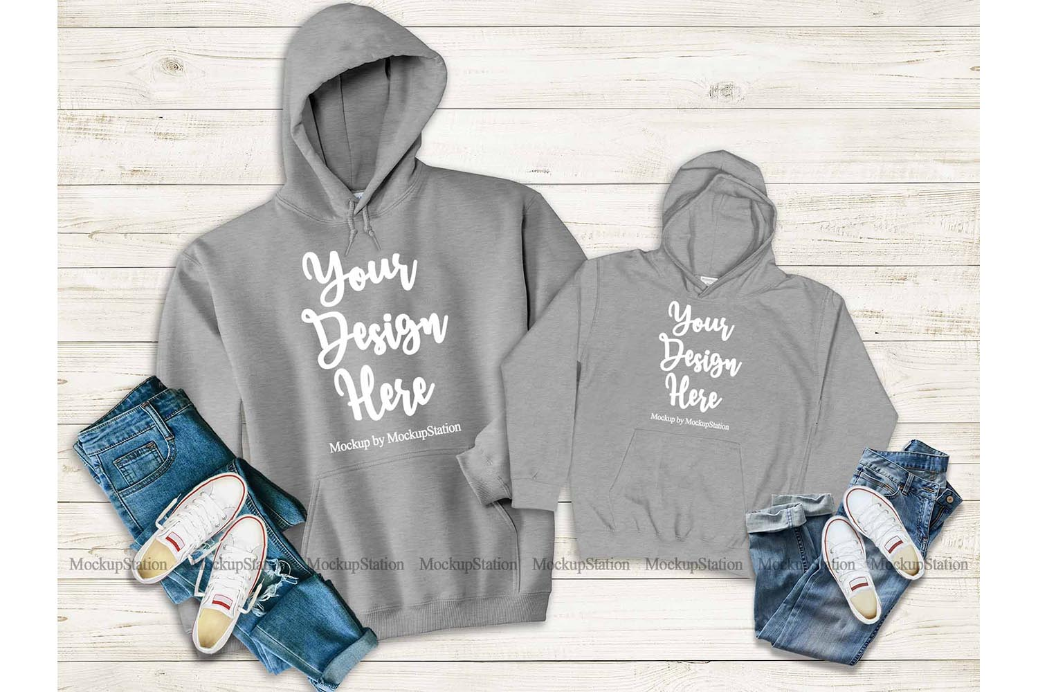 Mommy And Me Gray Hoodie Mockup, Matching Family Hoodies example image 1