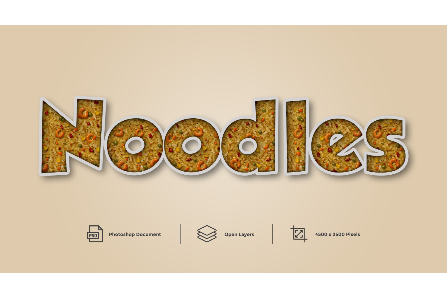 Noodles Text Effect Design Photoshop Layer Style Effect example image 1