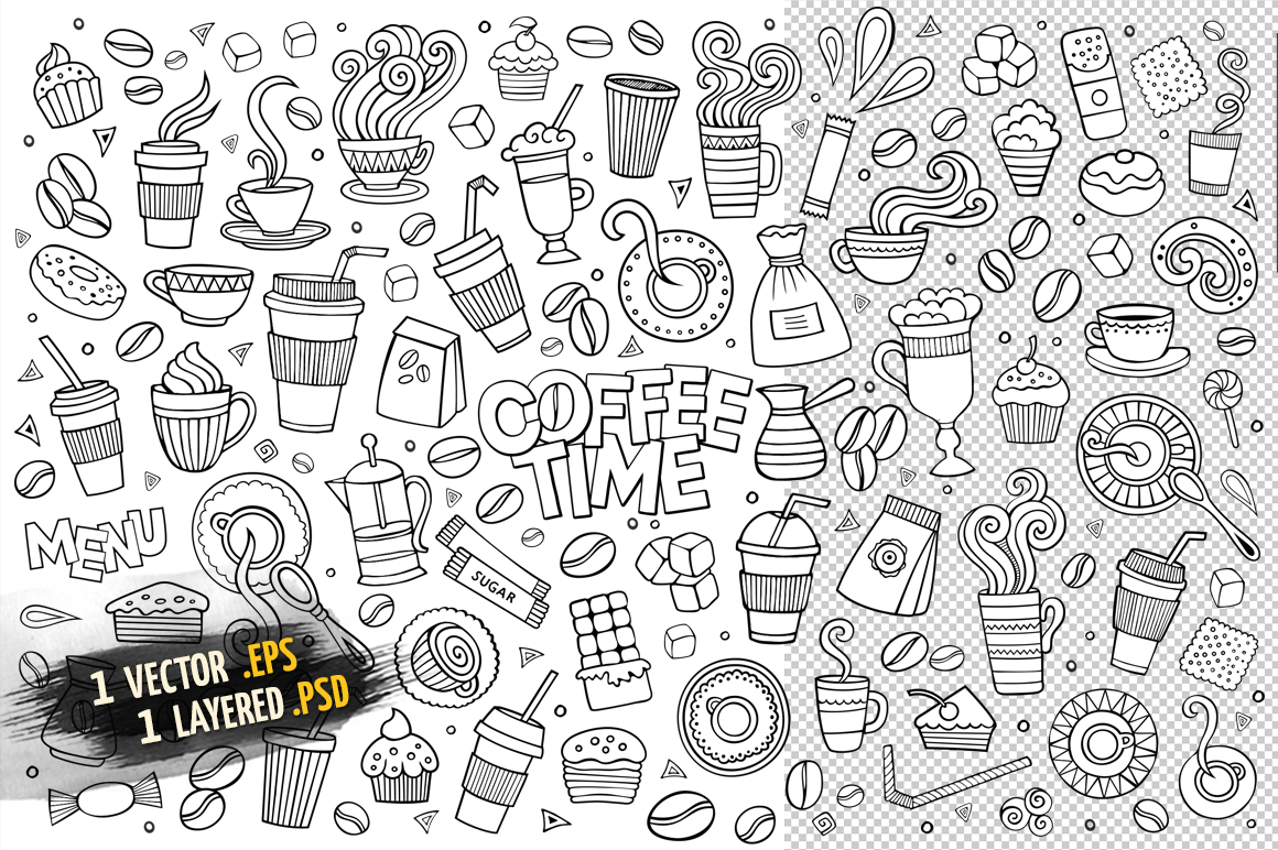 Coffee Objects & Elements Set example image 4