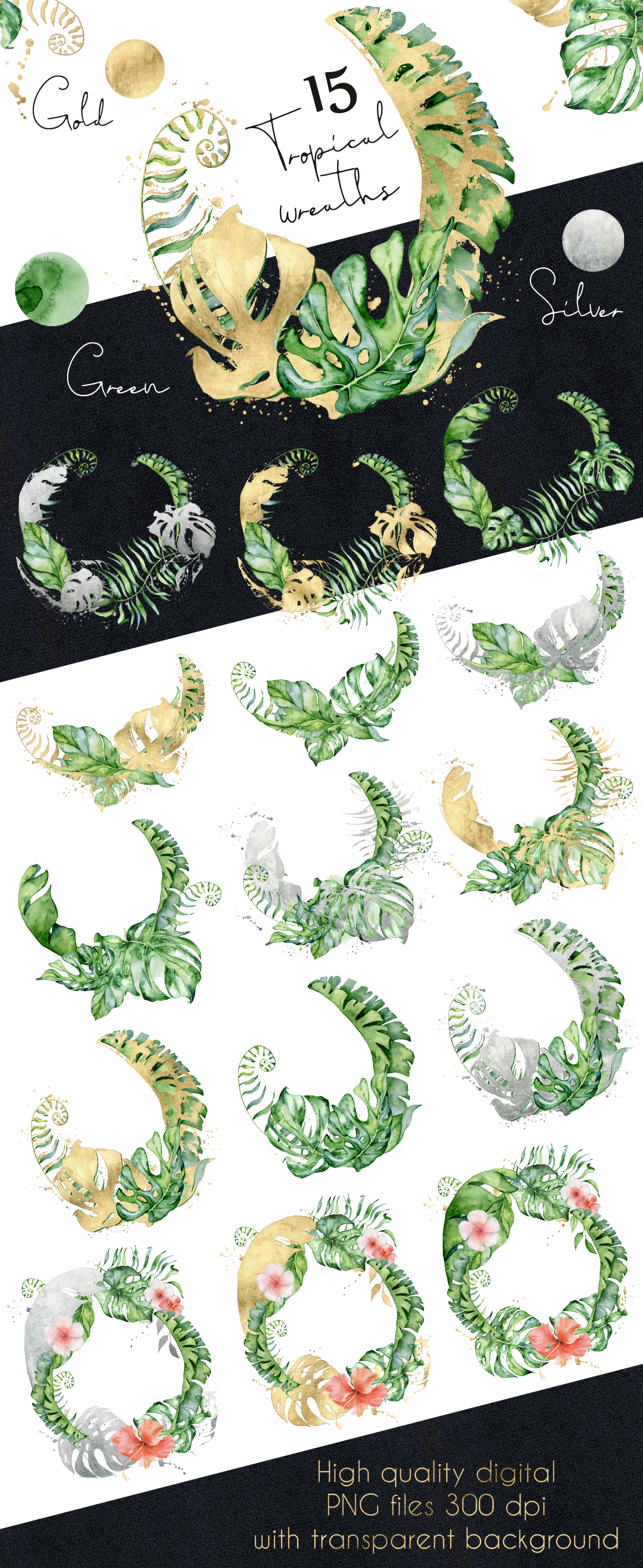 Mistery Monstera - tropical leaves watercolor illustration example image 30