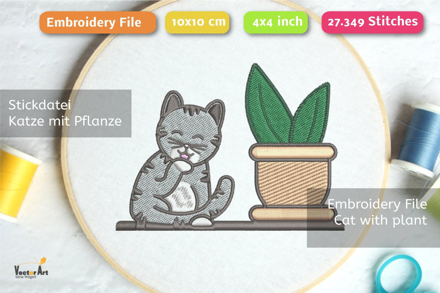 Cleaning Cat with Succulent - Embroidery File - 4x4 inch example image 2