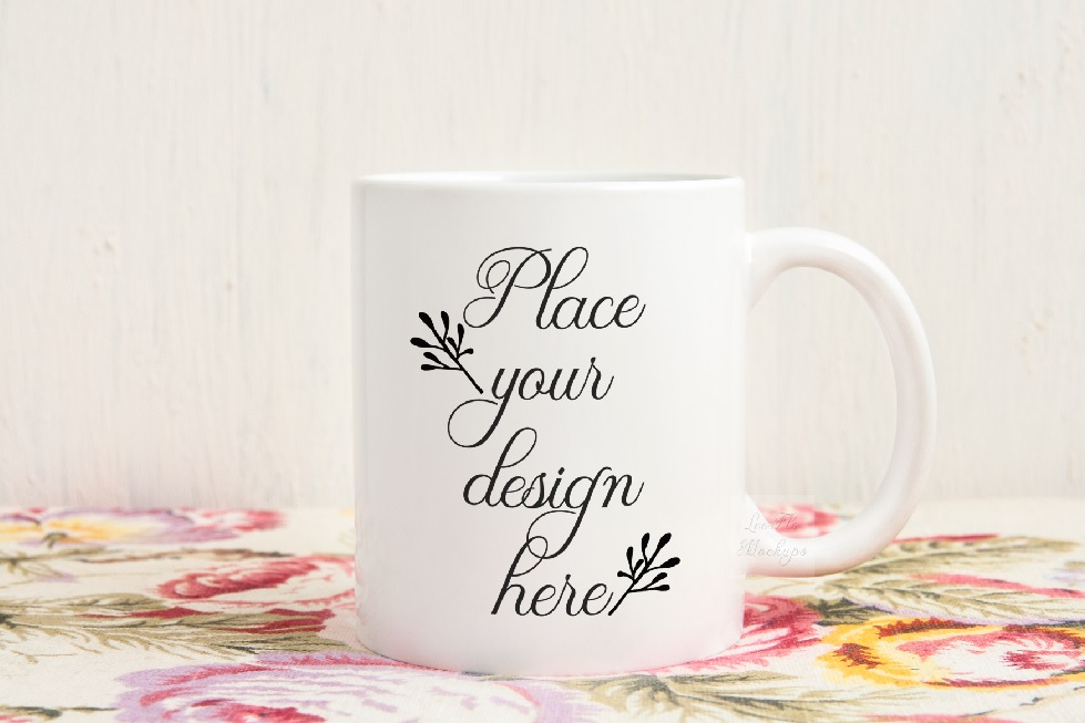 White coffee mug mock up vintage rustic floral example image 1