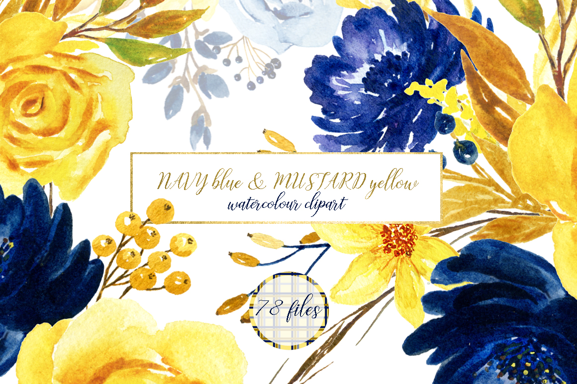 Blue And Yellow Watercolor Flowers
