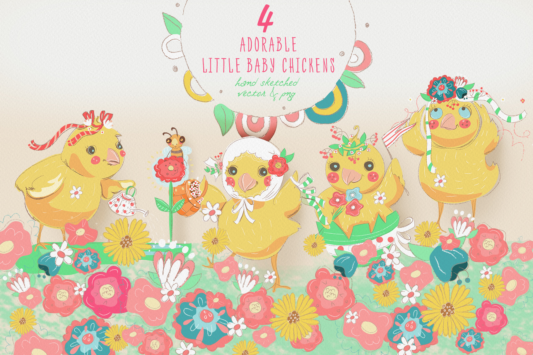 Spring Chicks Easter Clipart example image 2