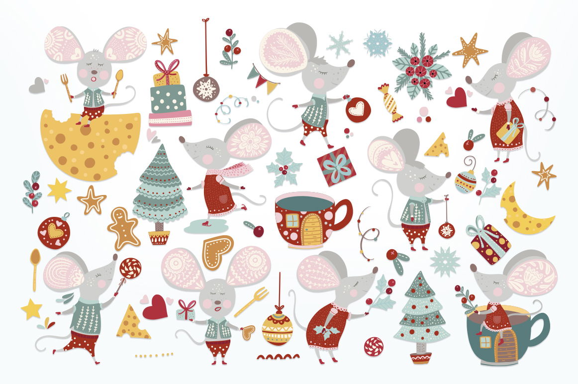 Noel. Christmas Mouse Bundle. example image 3
