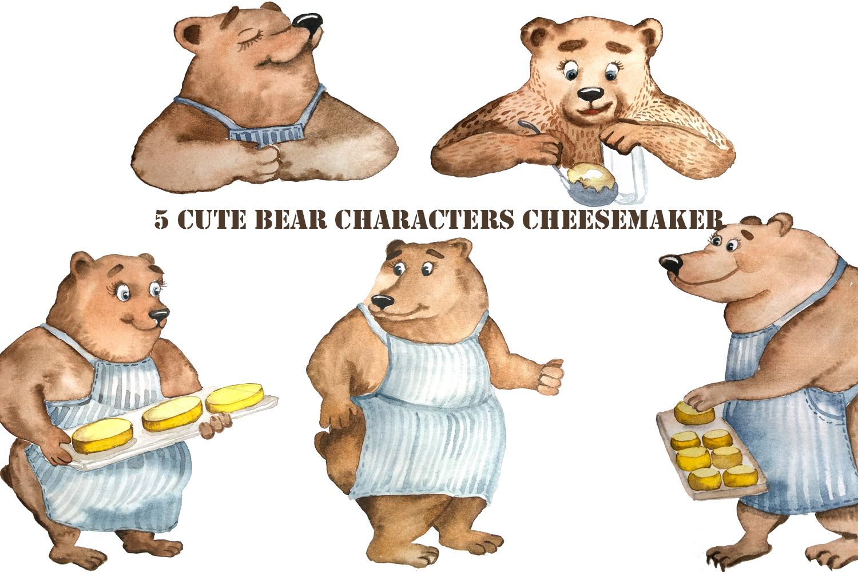 Bear makes cheese - watercolor character example image 2