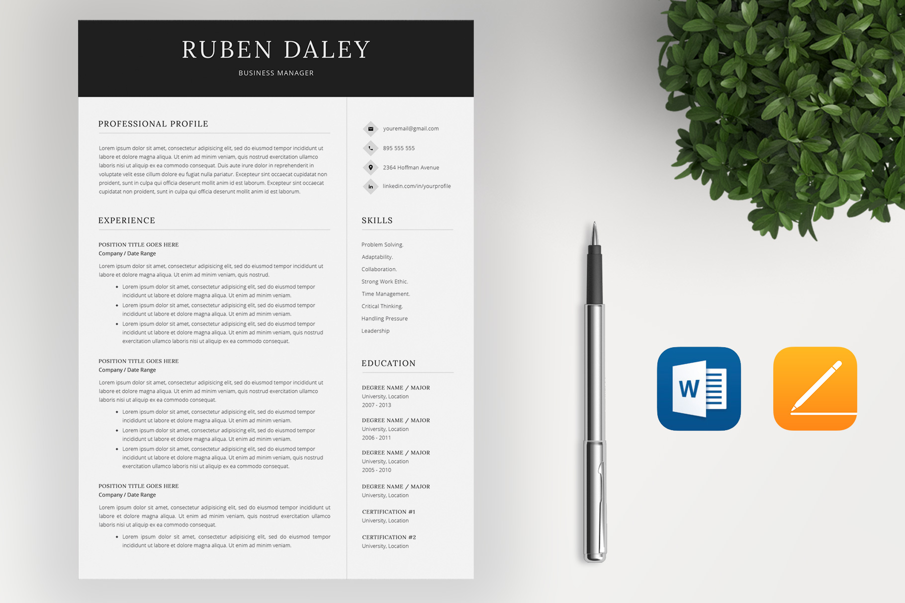 Resume Template and Cover Letter example image 2