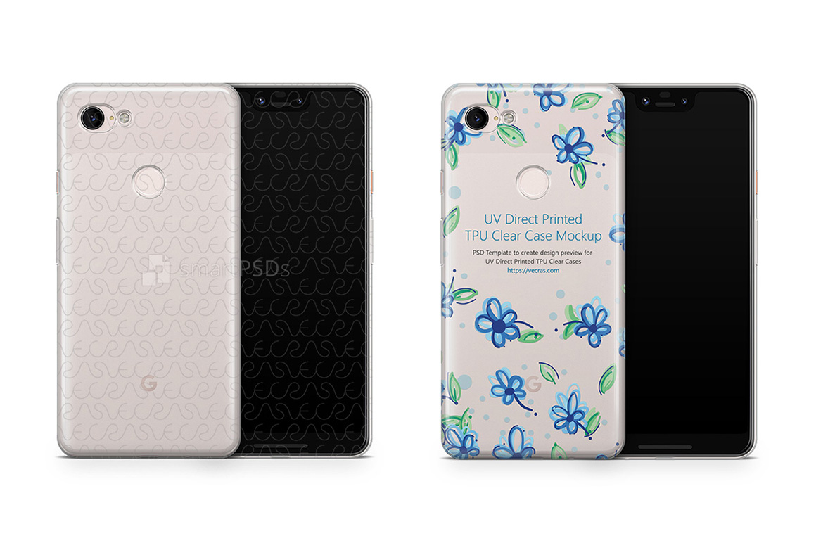 Google Pixel 3 XL UV TPU Clear Case Mockup 2018 example image 1