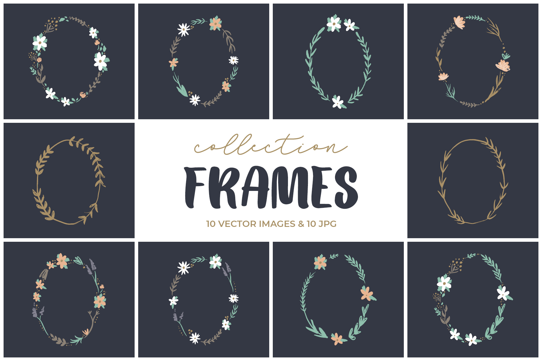 Wedding clip art floral frames, vector graphics example image 1