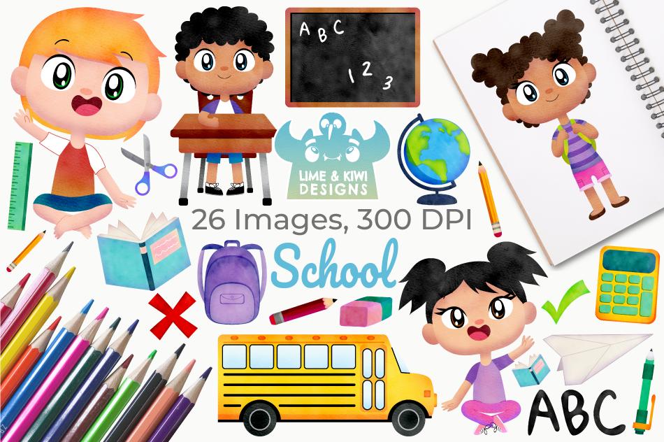 School Watercolor Clipart, Instant Download Vector Art example image 1