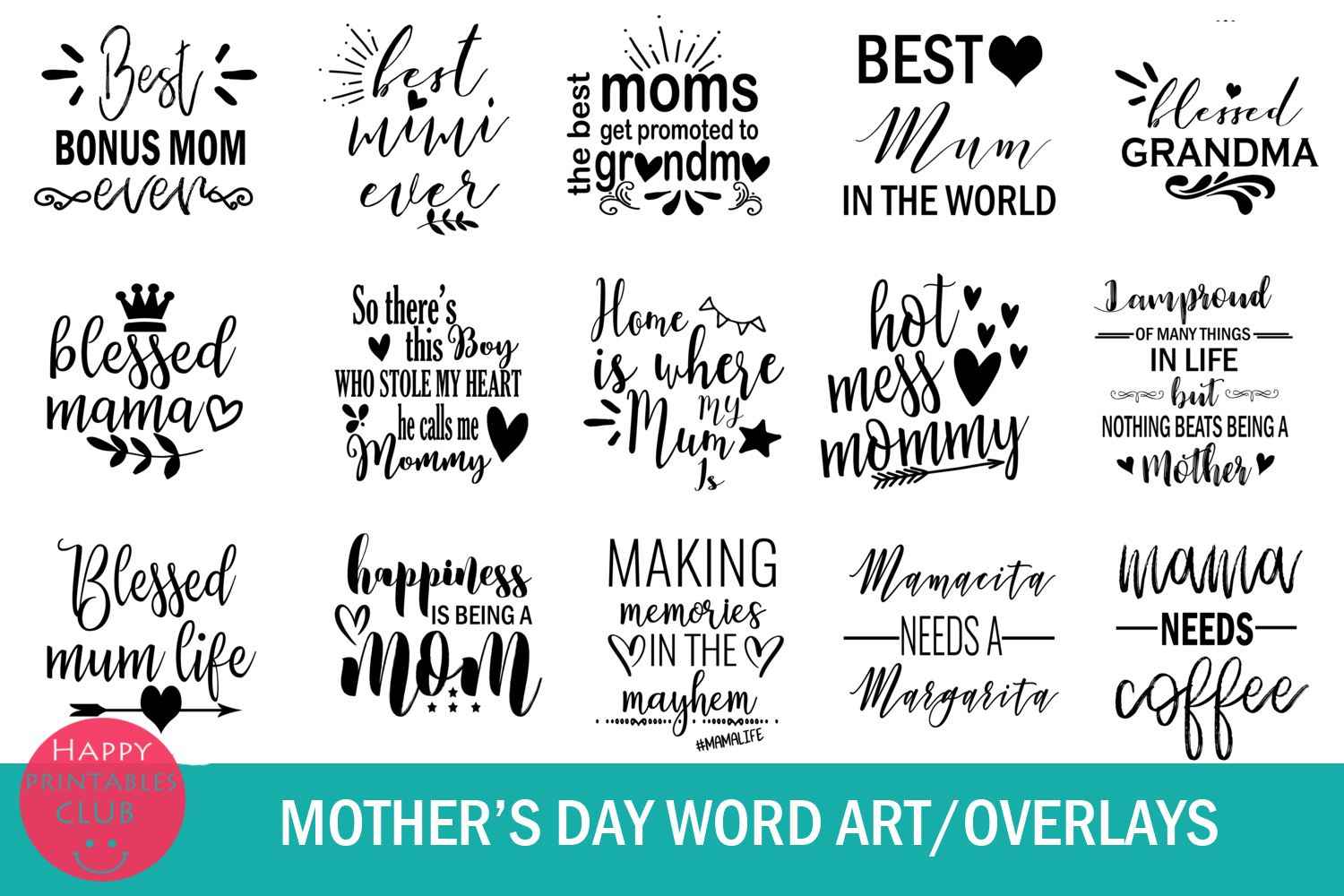 Mother's Day Text Clipart-Photo Overlays-Word Art Graphics example image 3