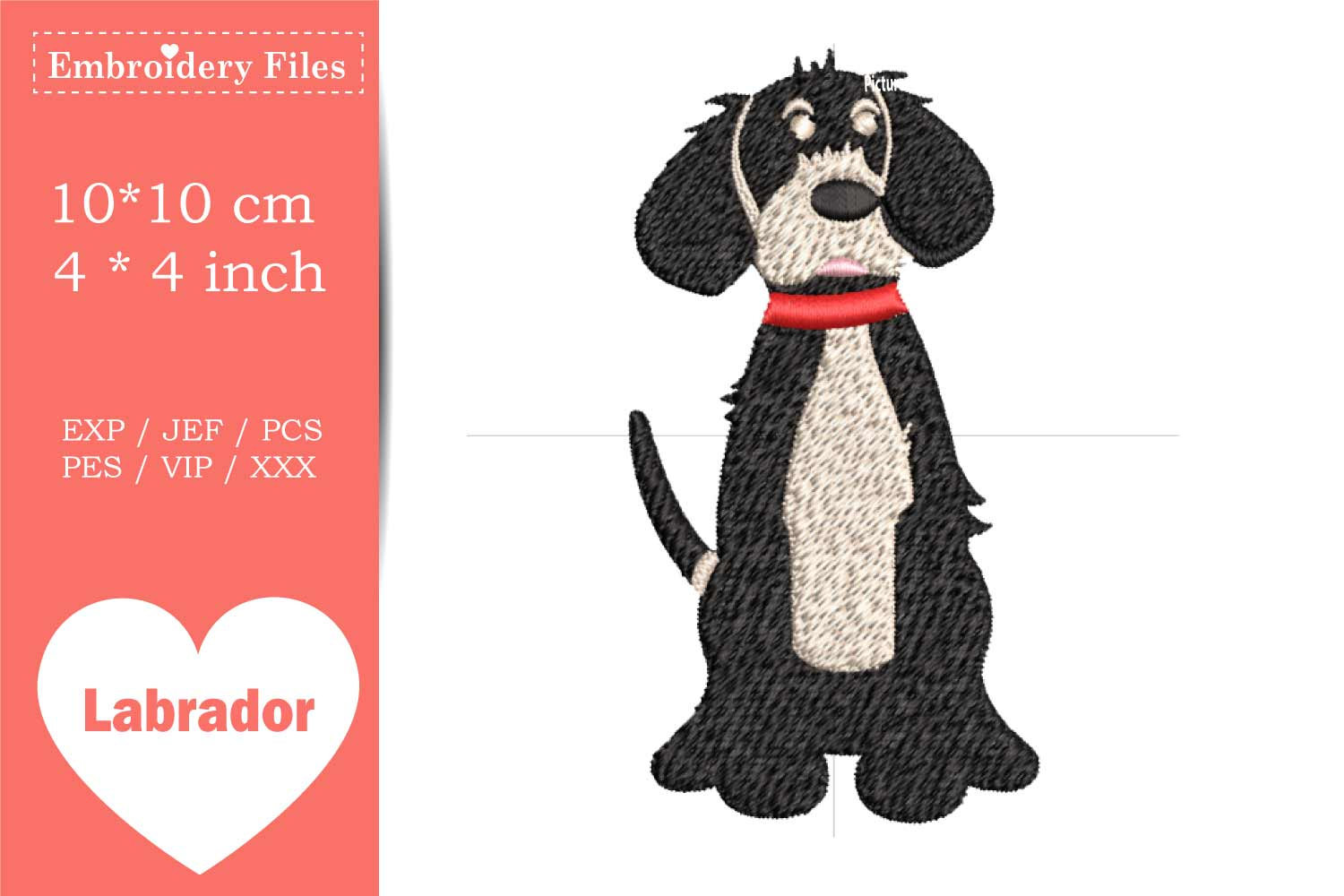 Cute big Dog - Embroidery File example image 2