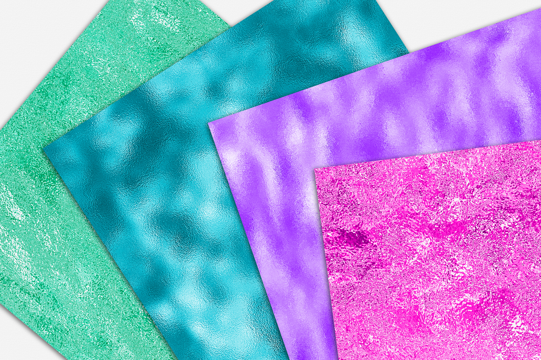 Neon Foil Backgrounds - 10 Seamless Neon Metallic Textures example image 4