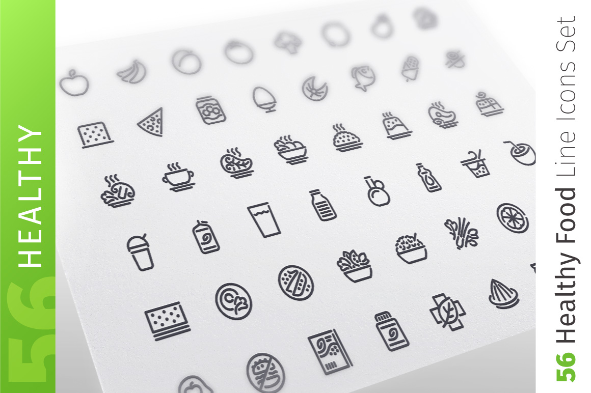 Healthy Food Line Icons Set example image 1
