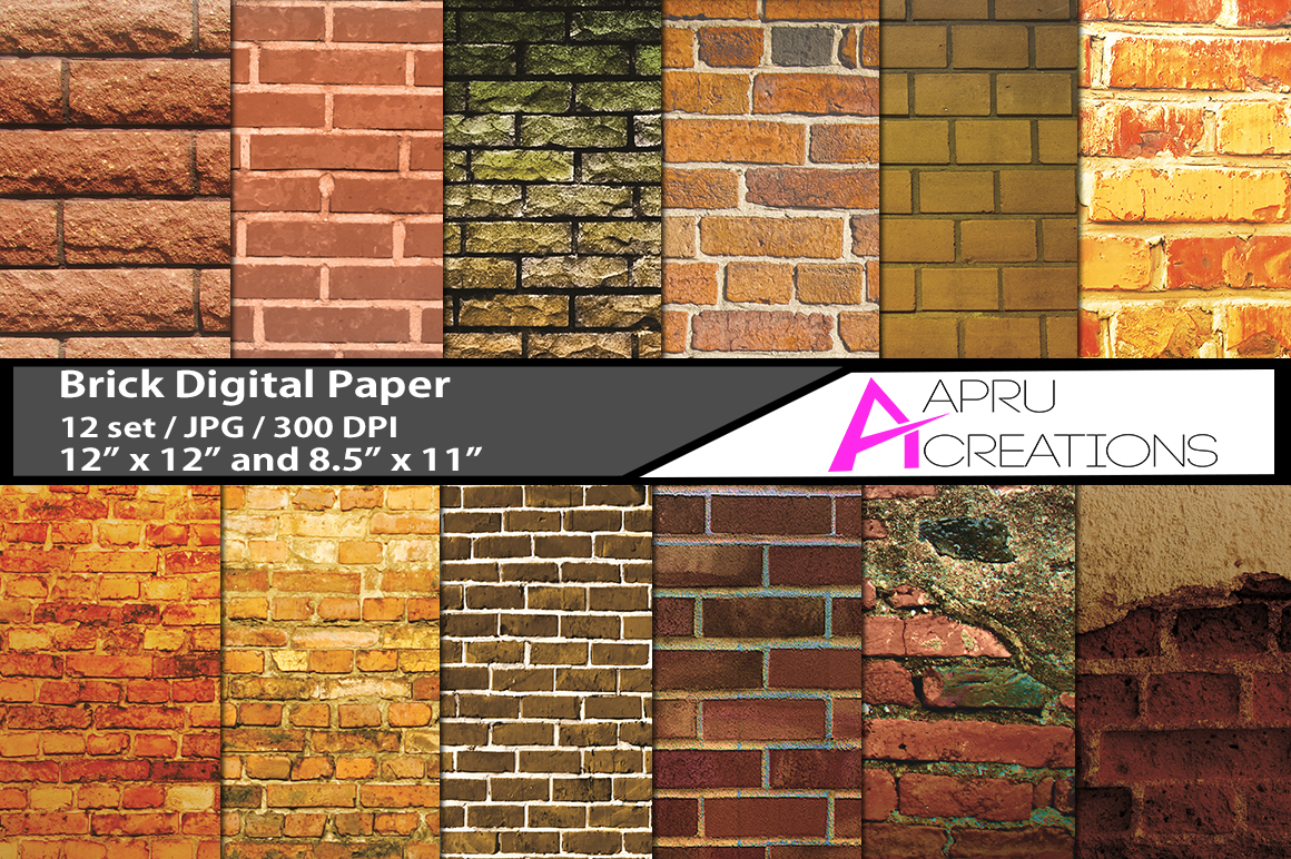 bricks pattern, brick digital papers,  brick design pattern, digital papers, bricks 300 dpi, 12 x 12 inch , and 8.5 x 11 inch example image 1