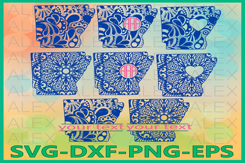Arkansas State SVG, Arkansas Mandala SVG, Zentangle svg example image 1