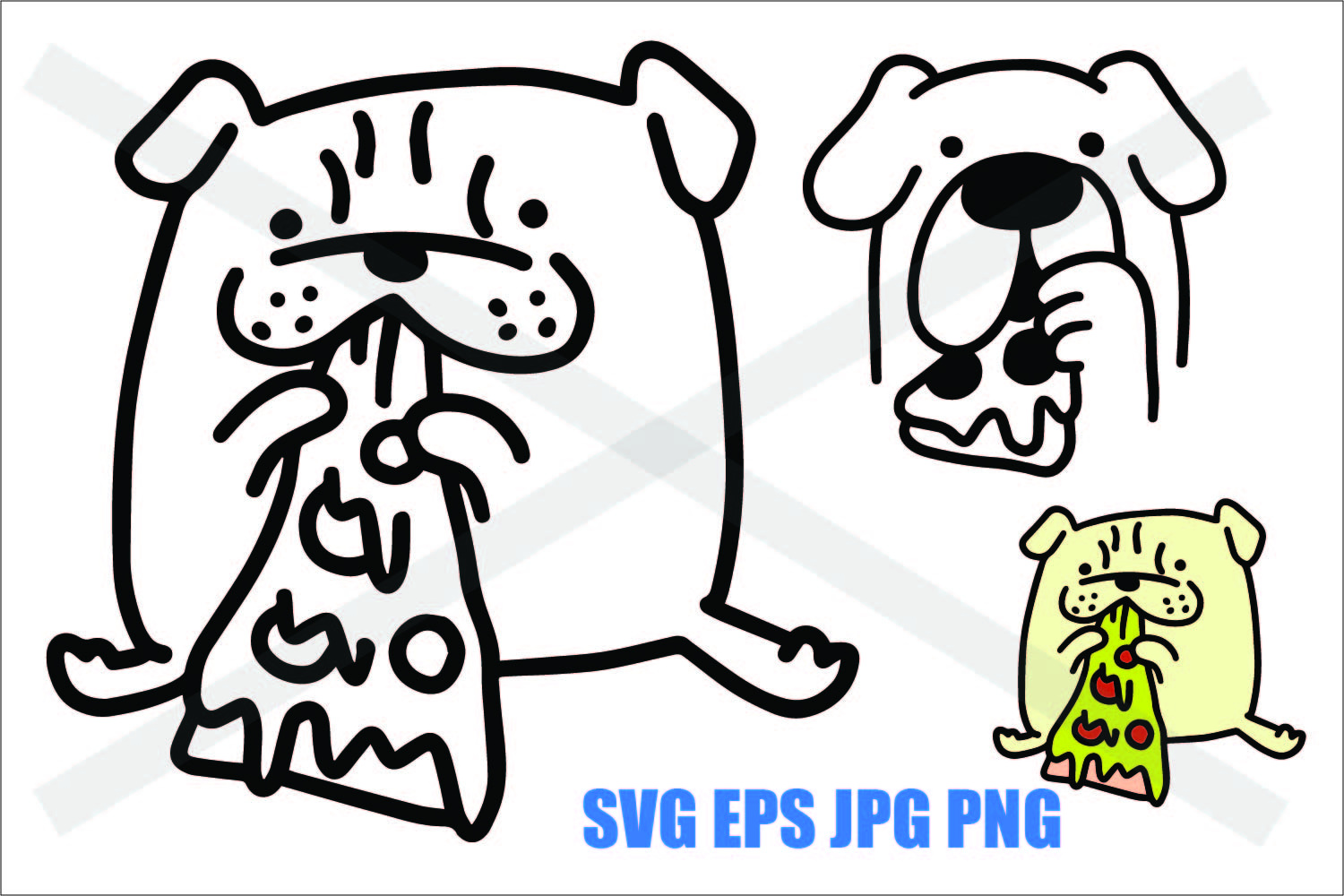 Dog Eating Pizza- SVG-EPS-JPG-PNG example image 1