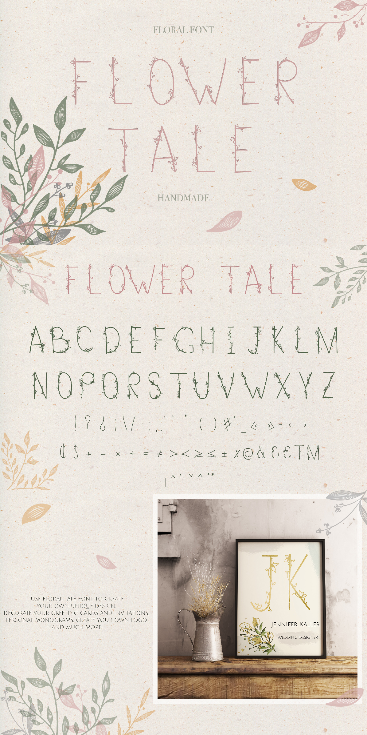Flower Tale - Handwritten Floral Font example image 6