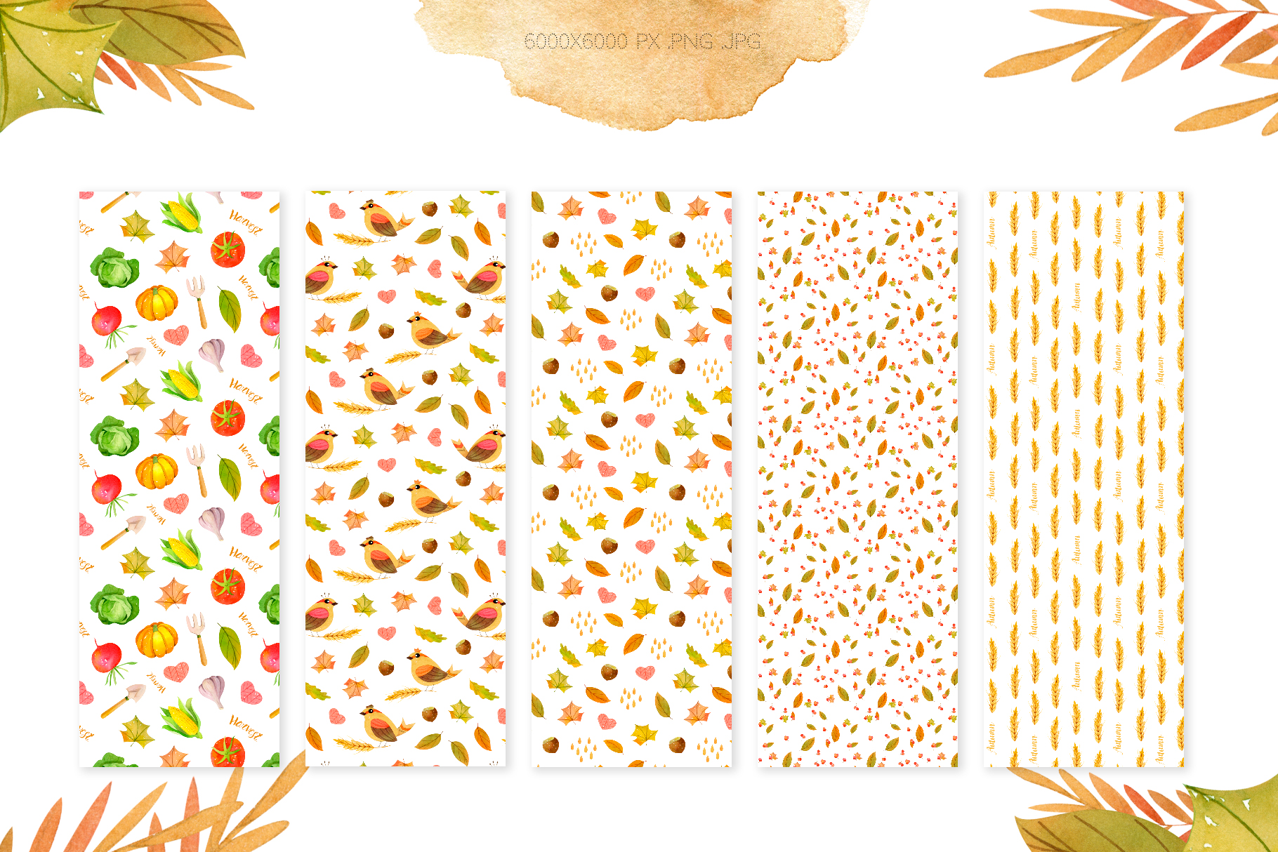 Watercolor Autumn Seamless Patterns Collection example image 4