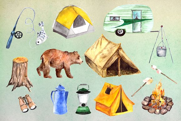 Watercolor Camping Clip Art Set example image 1