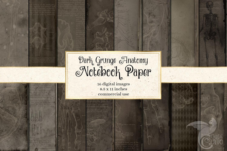 Dark Grunge Anatomy Notebook Paper example image 1
