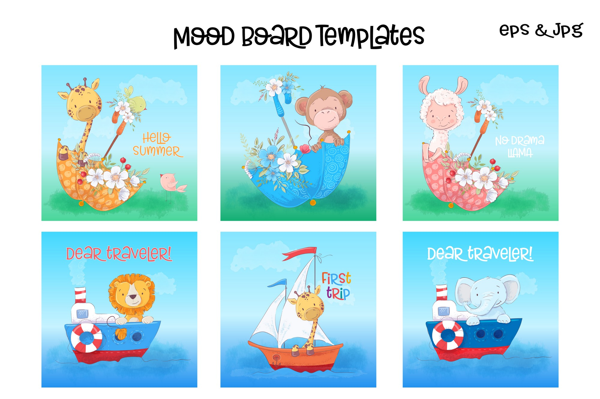 Tropical animals vector clip art example image 3