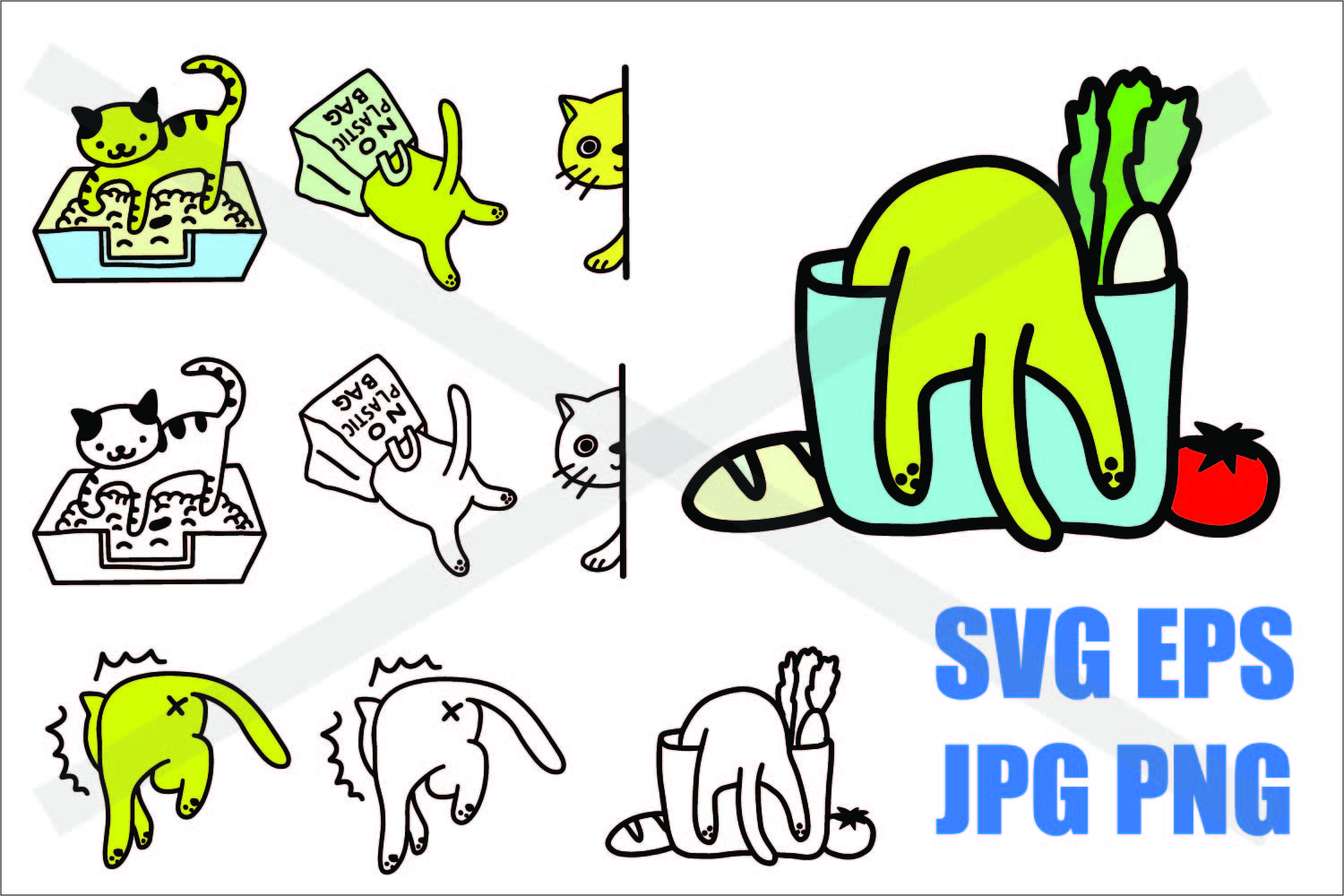 Cat in Action - SVG EPS JPG PNG example image 1
