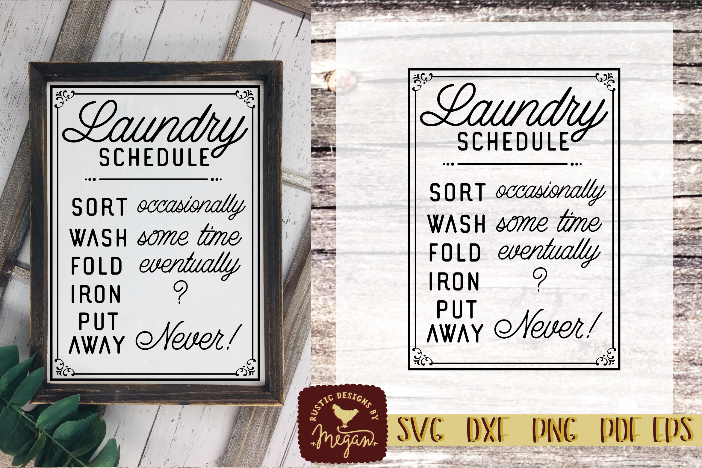 Rustic Laundry Schedule SVG EPS DXF Cut file example image 1